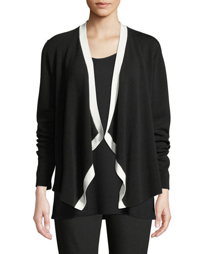 Angled-Front Colorblock Cardigan