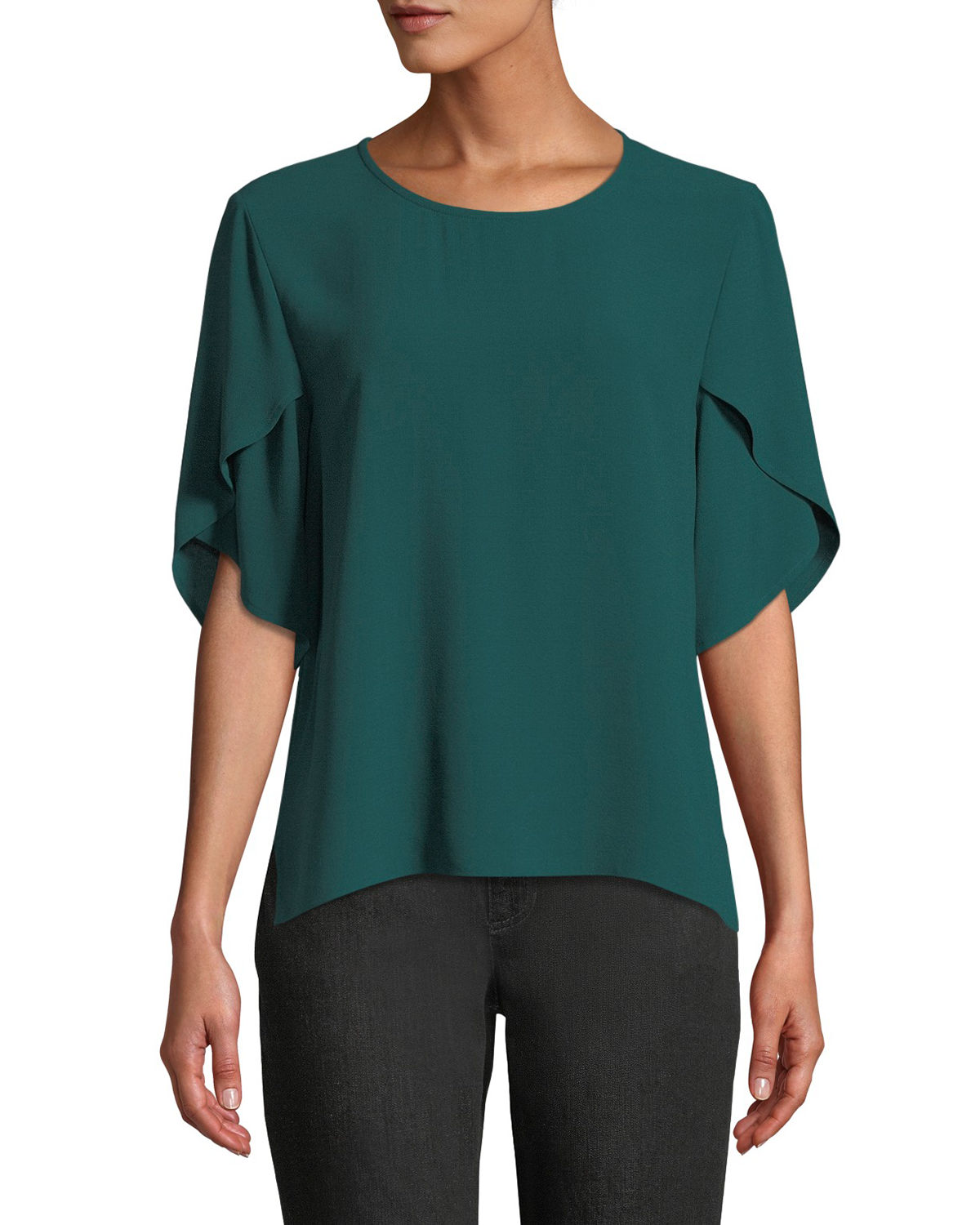 Tulip-Sleeve Silk Georgette Top, Plus Size