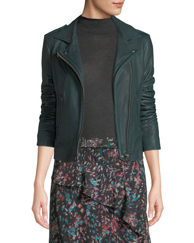 Han Leather Zip-Front Moto Jacket