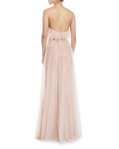 Embroidered Halter Gown w/ Tulle Skirt Overlay