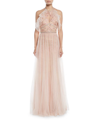 Marchesa Notte Embroidered Halter Gown w/ Tulle Skirt
