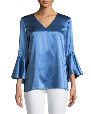 Lafayette 148 New York Emmalyn Luxe Charmeuse Blouse
