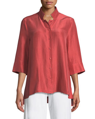 Eileen Fisher 3/4-Sleeve Silk Doupioni Shirt, Petite
