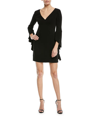 V-Neck Flounce-Sleeve Mini Cocktail Dress