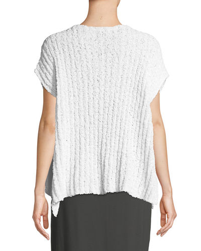 Rail-Knit Short-Sleeve Sweater
