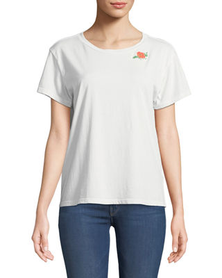 MOTHER Goodie Goodie Short-Sleeve Boxy Cotton Tee w/