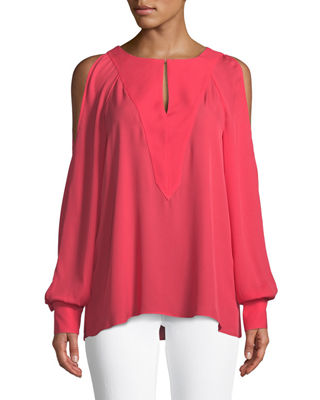 Elie Tahari Wyatt Silk Cold-Shoulder Blouse