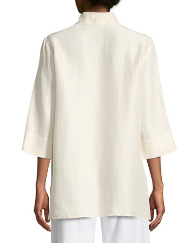 3/4-Sleeve Silk Doupioni Shirt