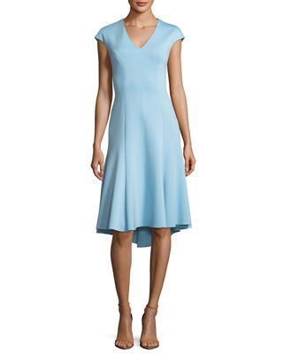 Elie Tahari Moriah Knit V-Neck A-Line Dress