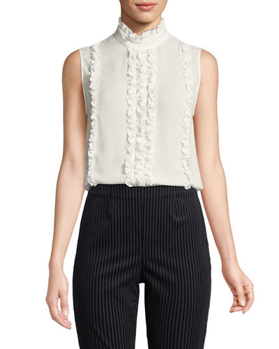 Button-Back Sleeveless Ruffle Top
