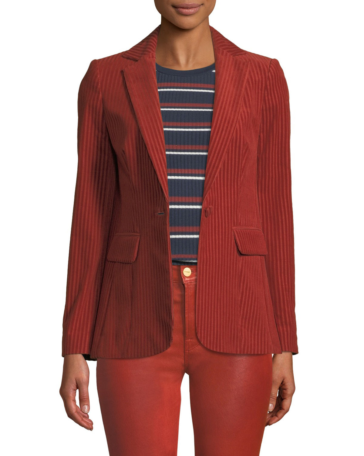 Frame Blazers FINE VARIEGATED ONE-BUTTON BLAZER JACKET