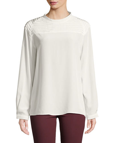 317c843dc19f4 Quick Look. J Brand · Chrystal Pleated Long-Sleeve Silk Top. Available in  White