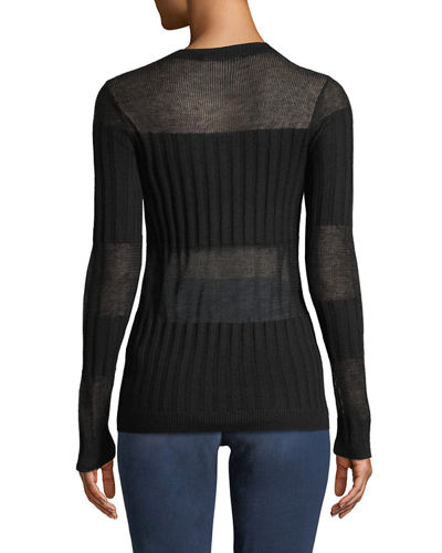Andrea Ribbed Silk-Cashmere Crewneck Sweater