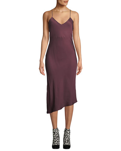 Scarlet V-Neck Asymmetric Slip Dress