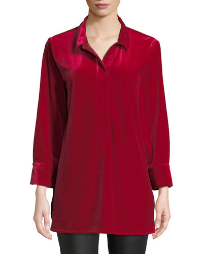 3/4-Sleeve Side-Slit Relaxed Velvet Tunic Shirt
