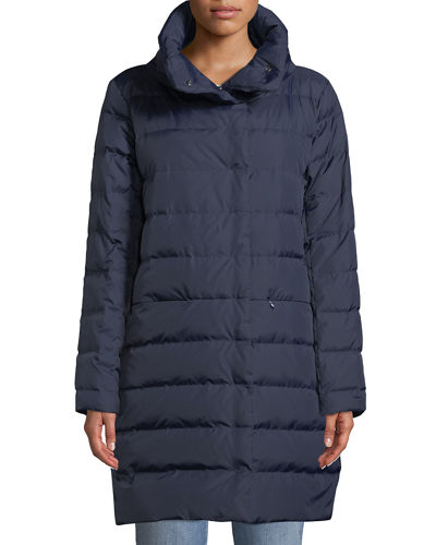 Quilted Stand-Collar Cocoon Coat