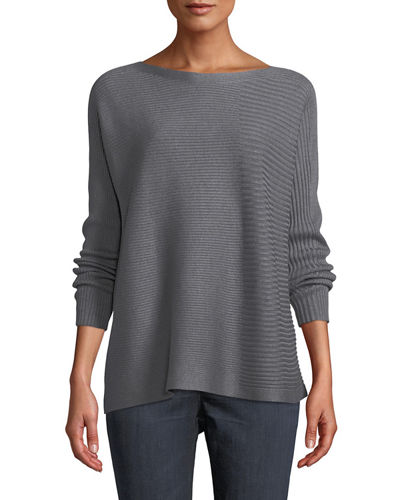 Bateau-Neck Ribbed Cotton-Silk Blend Sweater