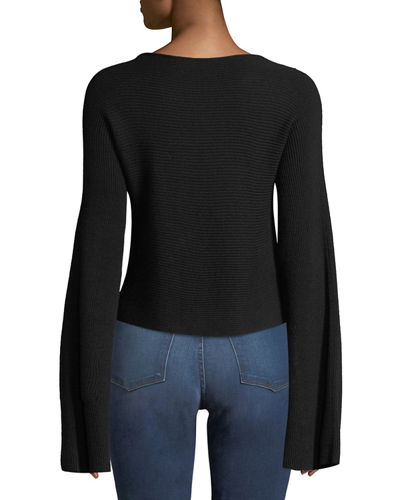 Audrina Rib-knit Split-Sleeve Top