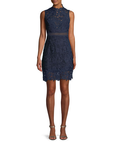 Paris Floral Lace Bodycon Cocktail Dress