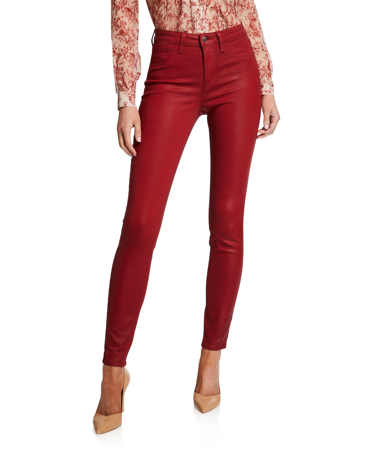 L'agence Coats MARGUERITE COATED COTTON DENIM HIGH-RISE SKINNY JEANS