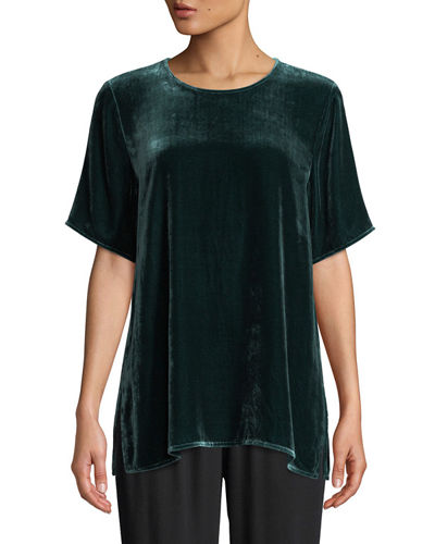 Short-Sleeve Velvet Box Top, Plus Size