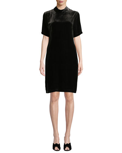Mock-Neck Short-Sleeve Tieback Velvet Shift Dress, Petite