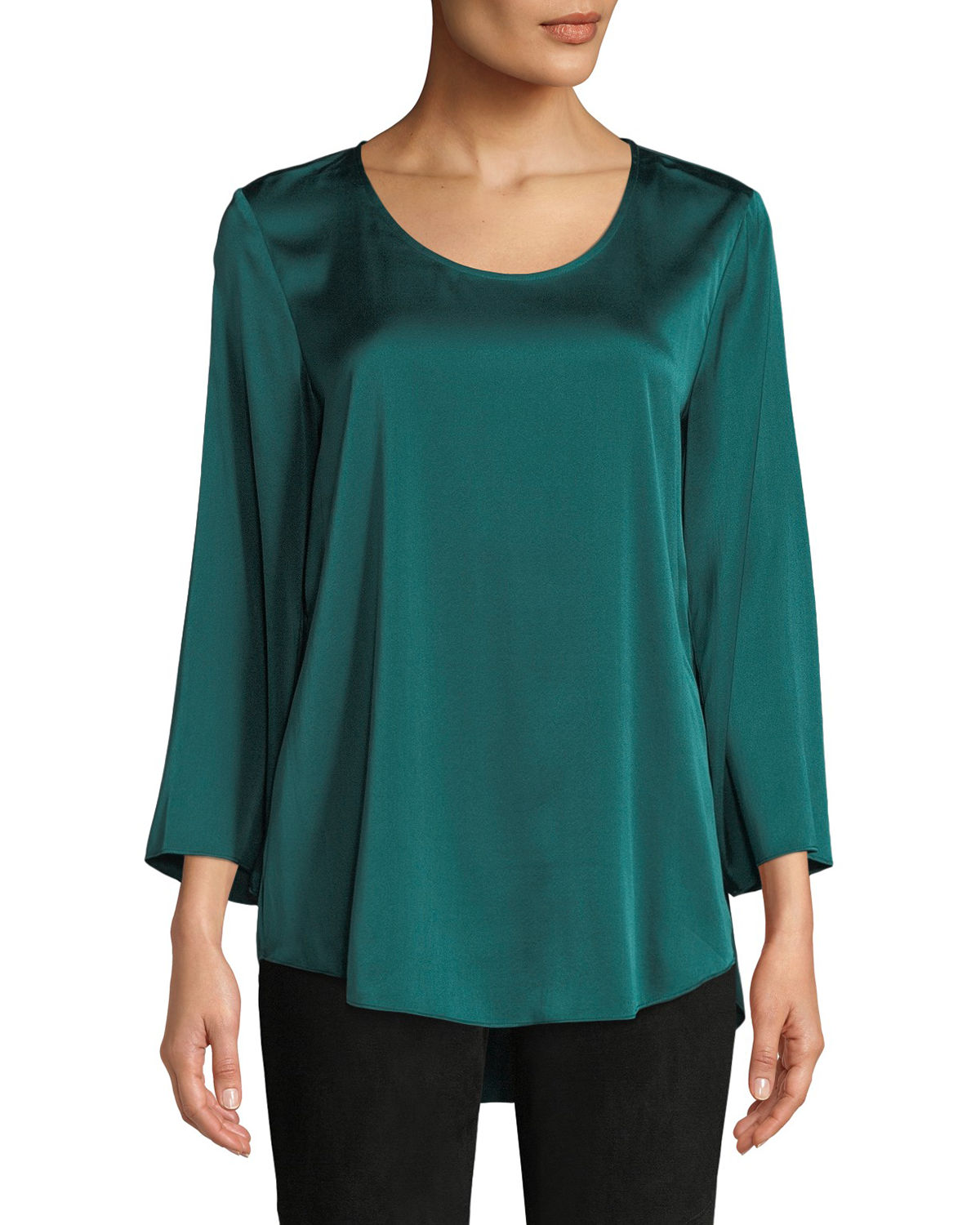 3/4-Sleeve Silk Charmeuse Blouse, Plus Size