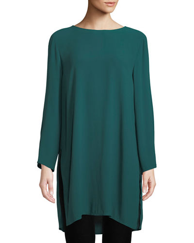 Silk Georgette Round-Neck Tunic