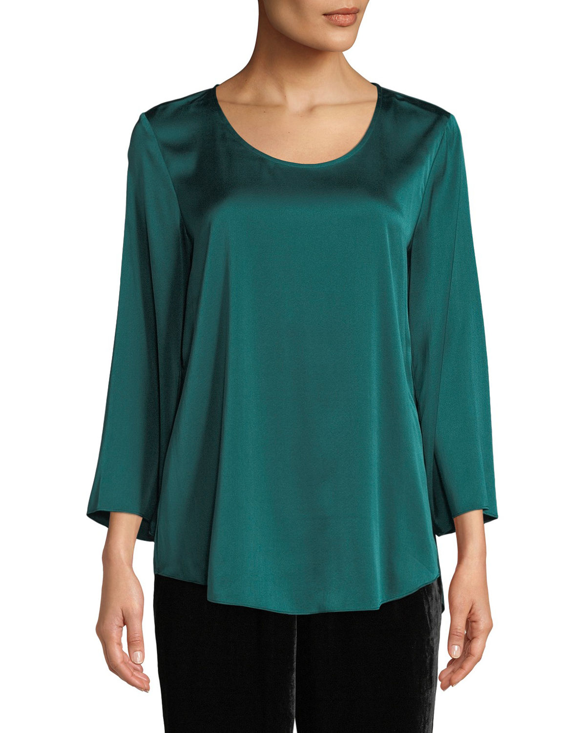 3/4-Sleeve Silk Charmeuse Blouse