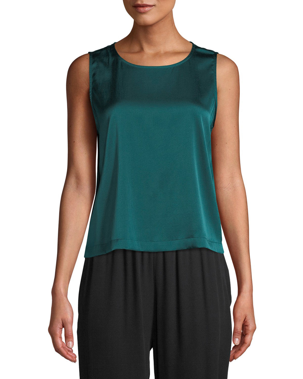 Round-Neck Sleeveless Silk Charmeuse Shell