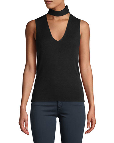 Choker-Collar V-Neck Sleeveless Fine Silk/Cashmere Top