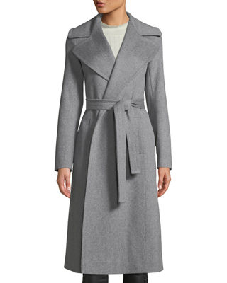 FLEURETTE Maxi Wrap Wool Coat in Gray
