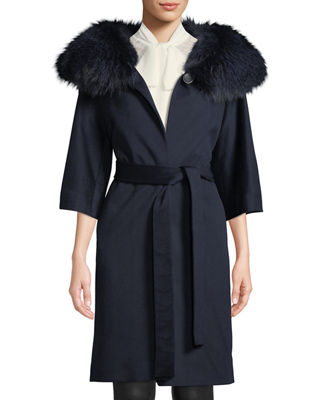 Fleurette Wool Cocoon Coat w/ Oversized Fur Collar