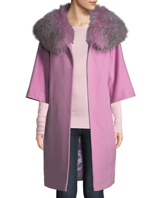 FLEURETTE Wool Cocoon Coat W/ Oversized Fur Collar in Purple