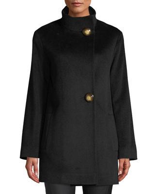 FLEURETTE Funnel-Neck Top Coat W/ Large Buttons in Black