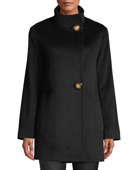 Fleurette Funnel-Neck Top Coat w/ Large Buttons