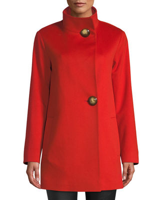FLEURETTE Funnel-Neck Top Coat W/ Large Buttons in Orange