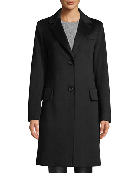 Fleurette Midi-Length Top Coat w/ Two-Button Front