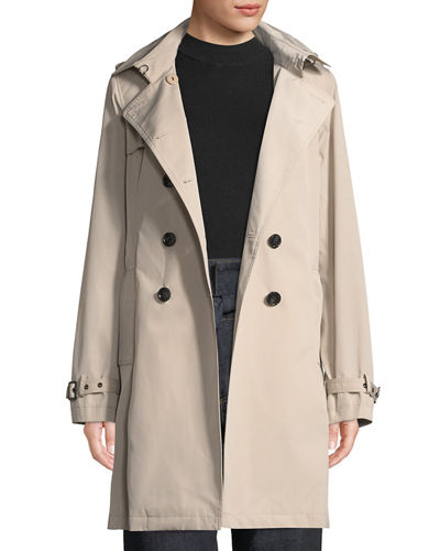 Jane Post Belted Tech-Fabric Trenchcoat