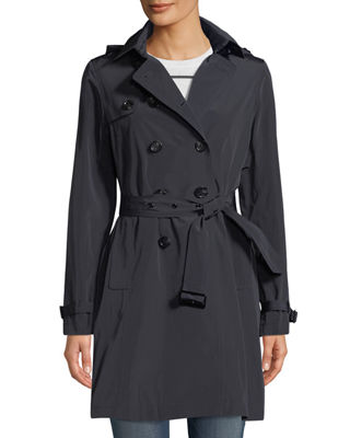 JANE POST Belted Tech-Fabric Trenchcoat in Blue