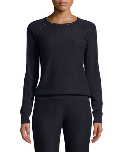 Cashmere Jacquard Knit Raglan-Sleeve Sweater With Embellishment