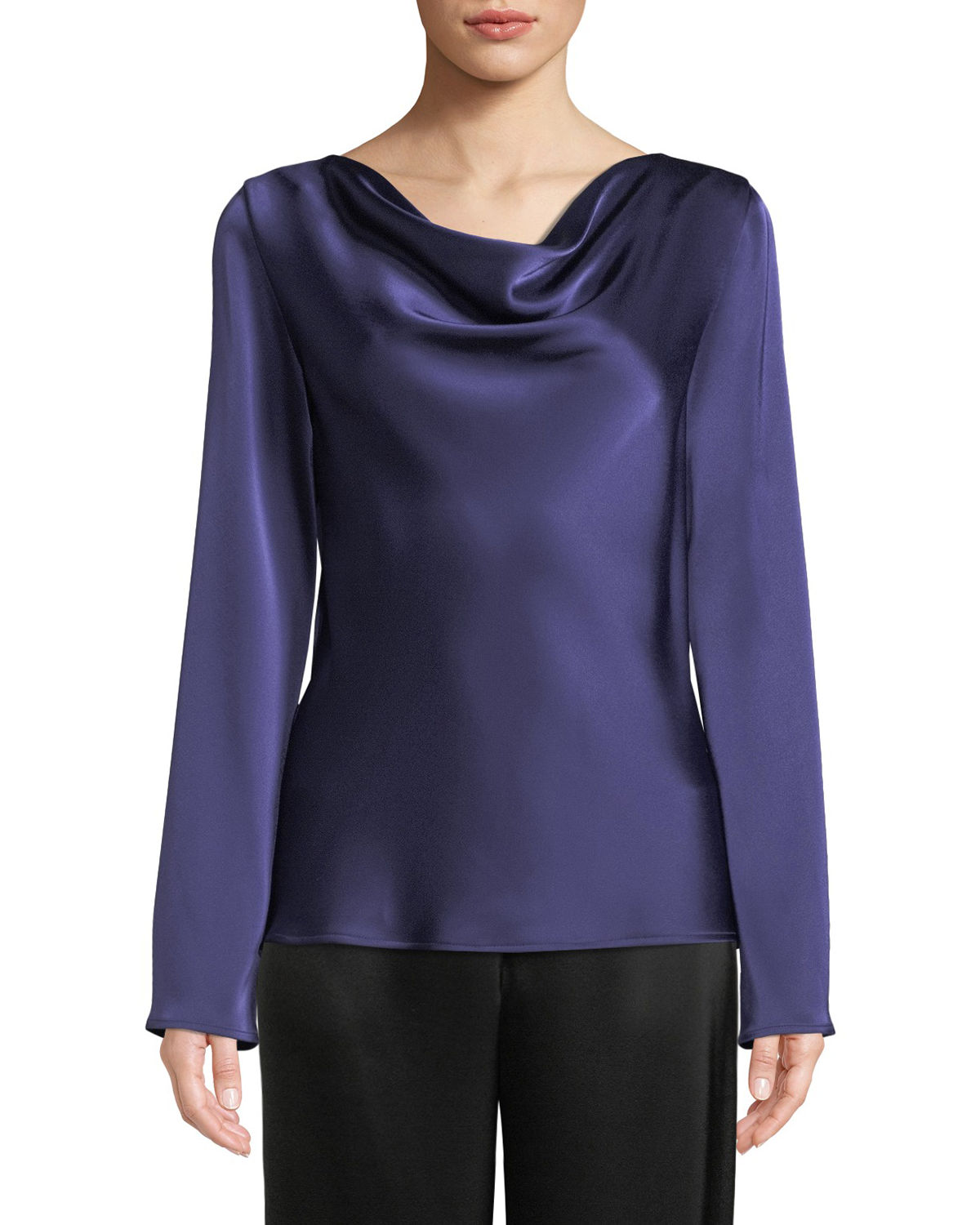 Lightweight Liquid Satin Cowl-Neck Blouse