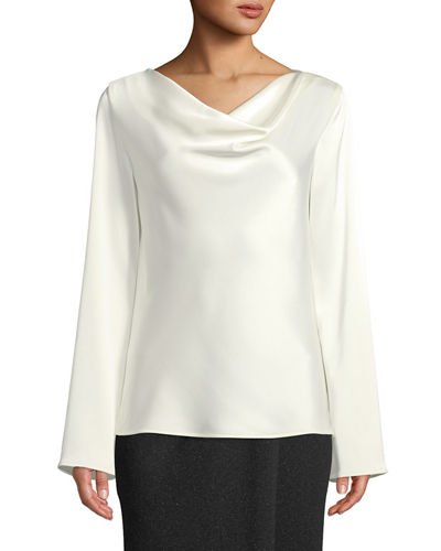 Lightweight Liquid Satin Cowl-Neck Blouse with Bell-Shape Sleeves