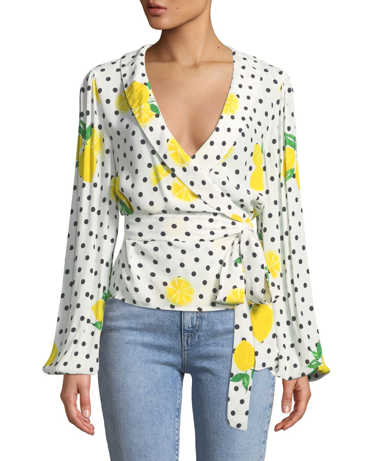 Mikayla Lemon-Polka Dot Wrap Blouse