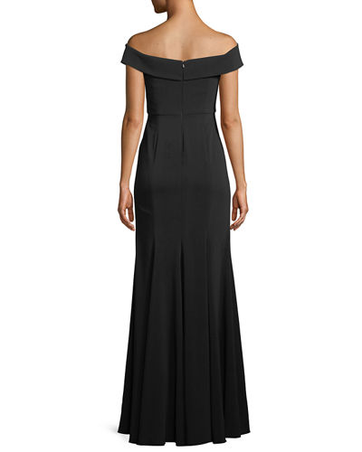 Jay Godfrey Off-the-Shoulder Crepe Gown w/ Front Slit
