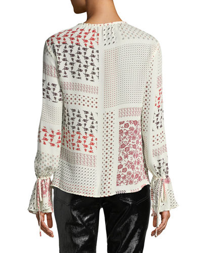 Derek Lam 10 Crosby Collarless Bell-Sleeve Printed Silk Blouse
