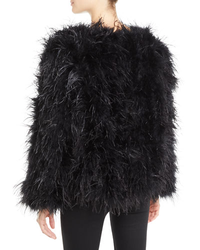 Long-Sleeve Ostrich Feather Jacket