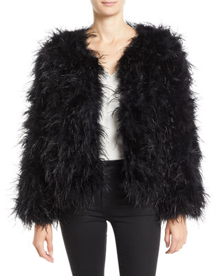Jovani Long-Sleeve Ostrich Feather Jacket