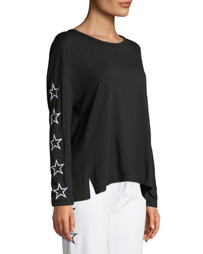 Slouchy Star-Embroidered Scoop-Neck Top
