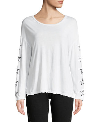 MONROW SLOUCHY STAR-EMBROIDERED SCOOP-NECK TOP